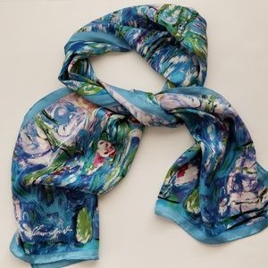 Accessories - Silk scarf blue green pink watercolor print